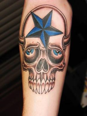 Nautical Star Skull Tattoo