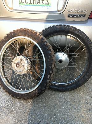 front and rear spoke wheels for a 1960 Honda motorcycle
