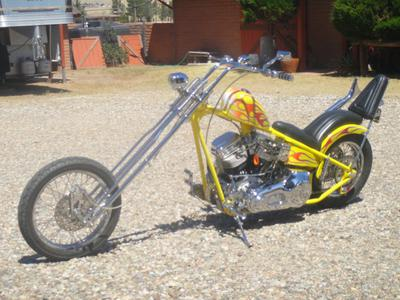full view front to back 2001 One -of-a-Kind Custom Chopper motorcycle