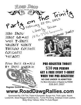 Party on the Trinity in Liberty, Texas TX Motorcycle Rally Flyer Poster