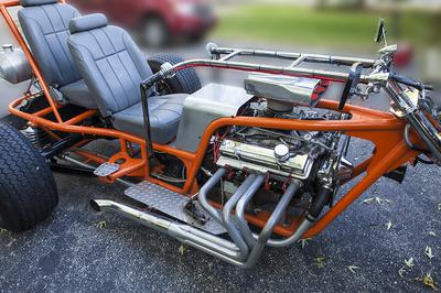 Custom V8 Trike motorcycle with a Chevrolet 350 Motor