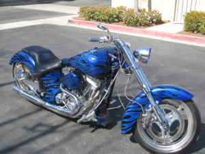 BLUE and BLACK CUSTOM RON SIMMS CHOPPER