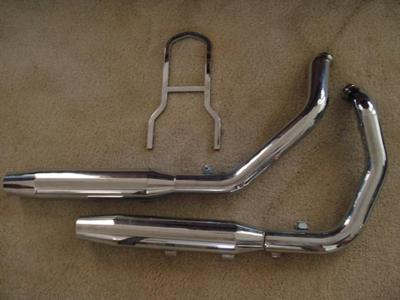 2004 - 2007 Harley Davidson Sportster Motorcycle Exhaust has Heat Shields