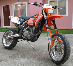 2004 KTM 525 EXC Super Motard red (this motorcycle is for example only; please contact seller for pics of the actual bike for sale)