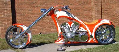 The High End White and Orange 300mm Single-Sided Softail Chopper