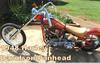 1948 Harley Davidson Panhead Motorcycle w Hog Candy Tangerine Paint Color with Hog Blue Metal Flake Flames Art Graphics