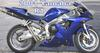 2001 Yamaha R1 lowered with a custom motorcycle paint job in blue