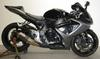 2006 Suzuki GSXR 1000 w grey and black paint color option and an upgraded carbon-fiber Scorpion exhaust