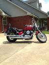 Red 2008 Yamaha V Star Custom 650 with Flames Graphics