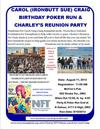 Carol's Motorcycle Poker Run & Charley's Reunion Party Flyer Poster