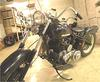 Custom 1951 Harley Davidson Flathead Bobber rigid hardtail w a 750 cc motor and a three speed kick start