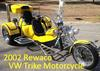 Bright Yellow Custom 2002 Rewaco Trike Three Wheel Motorcycle