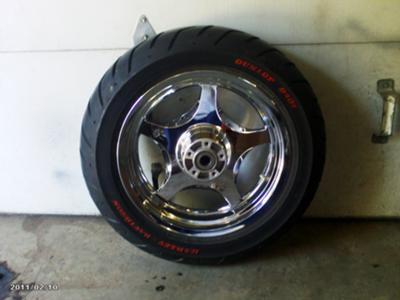 Thunder Star Wheel and Blackwall Tire for a 2009 or Later Harley Davidson Motorcycle (this photo is for example only; please contact seller for pics of the actual tires for sale in this classified)