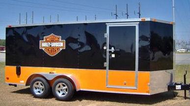 used custom harley davidson motorcycle towing touring hauling enclosed trailer for sale