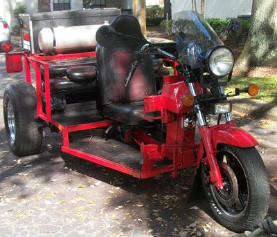 VW Trike 1600 Single port motor, 4 speed transission with reverse. Seats 3 plus the driver.