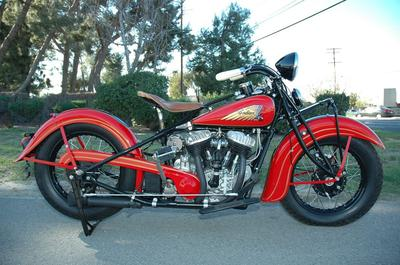 1935 Indian Chief motorcycle with a two-tone red and black paint color combination