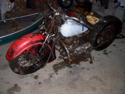 Barn fresh 1945 Indian 45 scout motorcycle for sale by owner