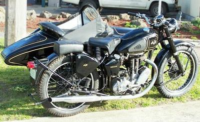 1949 AJS model Motorcycle 18 with Dusting sidecar