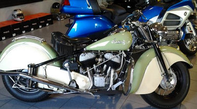 1948 Indian Chief Roadmaster w vintage green and antique white paint color