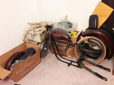 1962 Harley Sportster XLCH 1977 frame basket case as it sits today