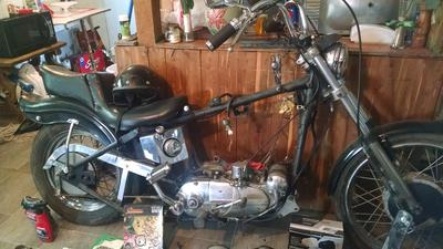 900cc 1966 Harley Davidson Sportster XLCH with an old school chopped chopper motorcycle frame for sale by owner