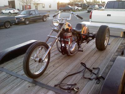 Custom 1971 BSA Rat Rod Chopper Trike Motorcycle w Harley Davidson Servi Service Car Rear End
