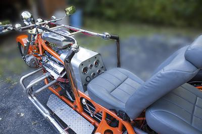 A Real Attention getter of a custom trike motorcycle