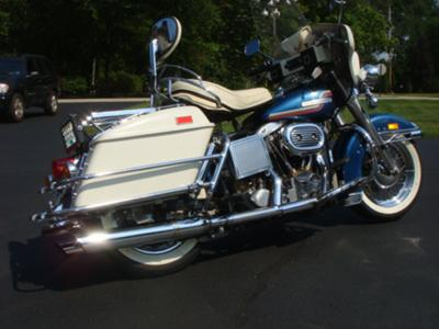 1975 FLH Shovelhead Harley Davidson Motorcycle in stock condition with tour pack and saddle bags