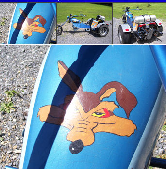 1976  VW Trike w Wiley the Coyote and The Roadrunner Cartoon Characters Artwork on the Tank - Custom Paint!