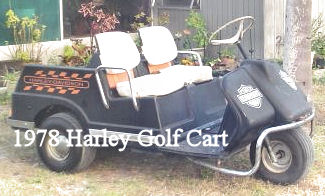 1978 Harley Davidson Golf Cart Three Wheel Gas Motor