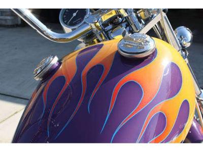 1980 Harley Davidson Sportster IronHead Iron Head with Purple, Gold and Yellow Custom Fuel Tank Paint Job with Flame Graphics Art