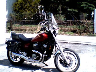 Red 1984 Honda VT500C Shadow
