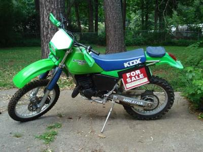 Lime Green and Blue 1987 KDX 200 2 Stroke Dirt Bike Motorcycle
