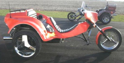 1989 VW  Trike w custom orange metallic paint color that changes in the sun