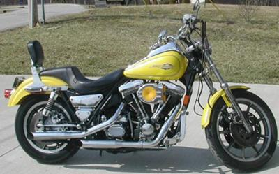 Yellow and Silver 1992 Harley Davidson Low Rider Custom Motorcycle