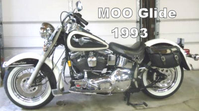 Black and Birch White 1993 Harley Davidson Softail Heritage FLSTN Nostalgia  Moo-Glide (this motorcycle is for example only; please contact seller for pics of the actual bike for sale)