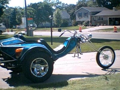 Custom 1994 VW Volkswagen Chopper Trike Scorpion Blue Metallic Body & Frame Harley Davidson Girder Front End