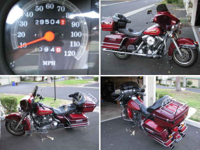 Two Tone Red and Burgundy 1995 Harley Davidson Electra Glide Classic FLHT