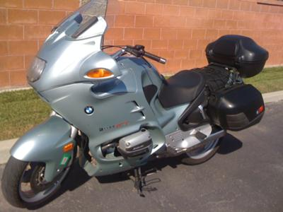 Glacier Green 1998 BMW RT1100 sport touring motorcycle with side and top cases