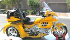 Yellow 2001 Honda GL1800 Trike (this photo is for example only; please contact seller for pics of the actual motorcycle for sale in this classified)