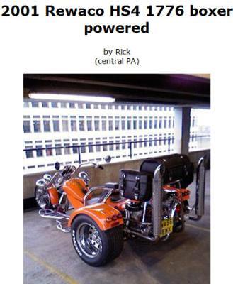 Boxer Powered 2001 Rewaco HS4 Trike w Orange Paint Color
