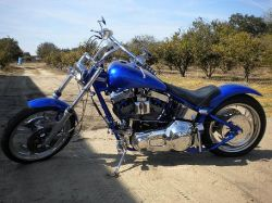 Candy Cobalt Blue Paint Ghost Flames Custom 2002 Custom Pro Street Softtail chopper motorcycle