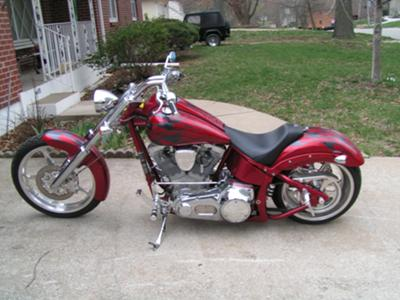 2003 Big Dog Mastiff w red metal flake and gray medal flake paint and flames graphics (this photo is for example only; please contact seller for pics of the actual motorcycle for sale in this classified)