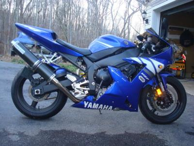 blue and white 2003 Yamaha YZF R1 (this photo is for example only; please contact seller for pics of the actual motorcycle for sale in this classified)