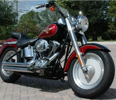 2005 HARLEY DAVIDSON FLSTFI FATBOY SOFTAIL 15th ANNIVERSARY EDITION MOTORCYCLE w Vivid Black and Lava Red Pearl paint color scheme option