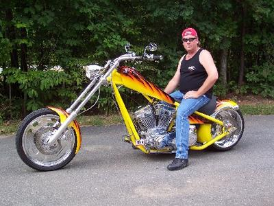 Yellow 2006 American Ironhorse LSC Chopper with Pearl Color Flame Paint Job