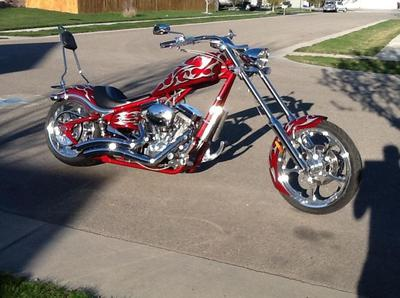 2006 Big Dog K-9 Chopper with red paint job with tribal accents