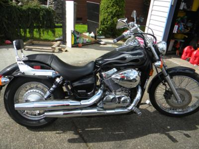 Black 2007 Honda Shadow Spirit Tribal Flames Custom Tank Motorcycle Paint (example, not the bike for sale in this ad)