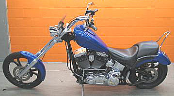 2007 Thunder Mountain Durango Chopper Motorcycle with blue paint color
