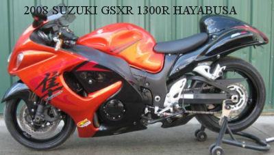 orange and black 2008 SUZUKI GSXR 1300R HAYABUSA (example only)